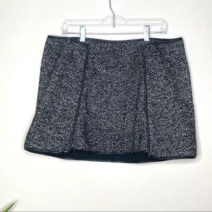 ASOS Wool Blend Vegan Leather Herringbone Skirt